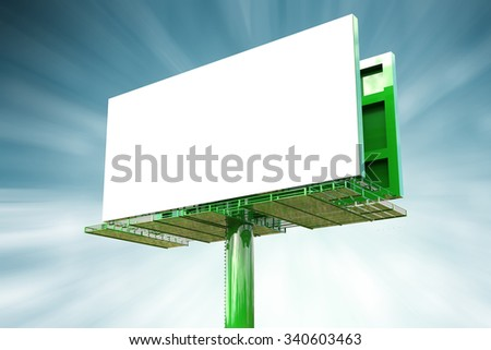 3d rendered blank green billboard  - stock photo