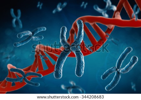 3d rendered blue chromosome with red dna structure on blue background - stock photo