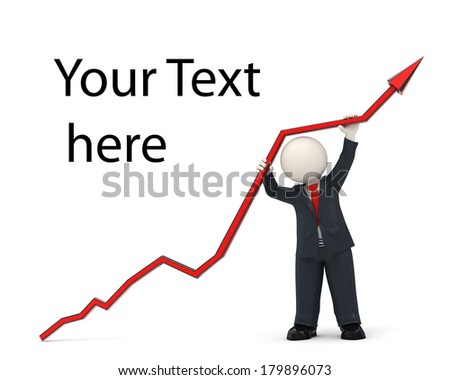 3d rendered business man in black suit, holding a financial chart arrow high up, representing the success in business - stock photo