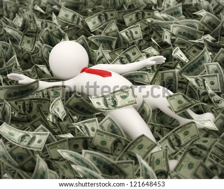 3d rendered business man just got lucky and rich and he is swimming in money ocean - stock photo