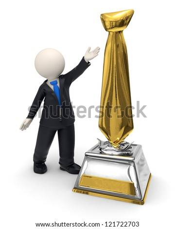 3d rendered business man showing a gold tie shaped trophy award - stock photo