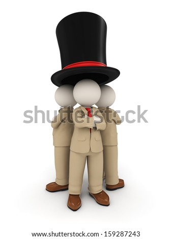 3d rendered business people as a team standing under one big famous hat - business under one roof concept - stock photo