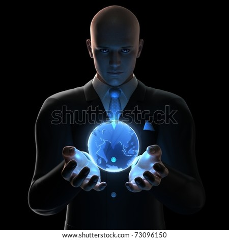 3d rendered businessman - globe - stock photo