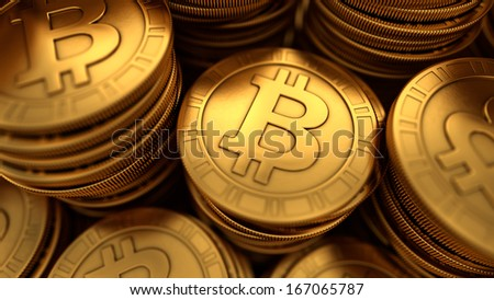 3D rendered close up illustration of paneled golden Bitcoins group with depth of field blur - stock photo