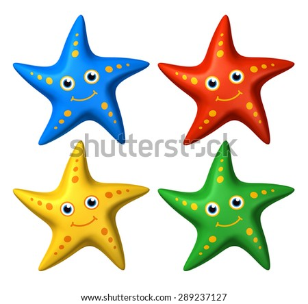 3D rendered collection of colorful stylized smiling starfish toys, looking ahead - isolated - stock photo