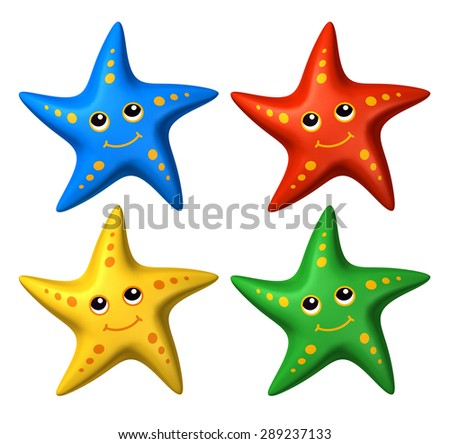 3D rendered collection of colorful stylized smiling starfish toys, looking up - isolated - stock photo