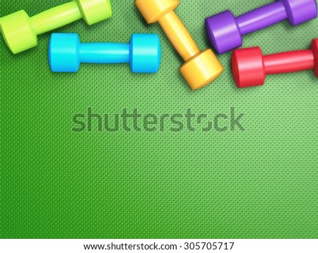 3d rendered colourful dumbbells on green background - stock photo