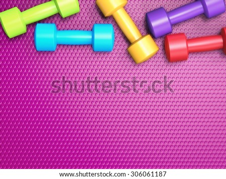 3d rendered colourful dumbbells on purple background - stock photo