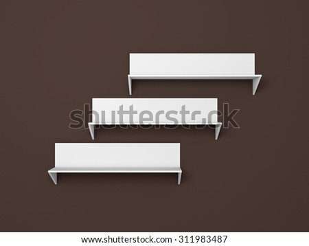 3d rendered composition of empty modern shelves. - stock photo