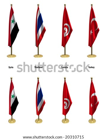 3d rendered conference flags, office like setting, front and isometric views #11 - stock photo