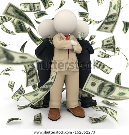 3d rendered confident and succesful business team standing back to back in US Dollar money rain - stock photo