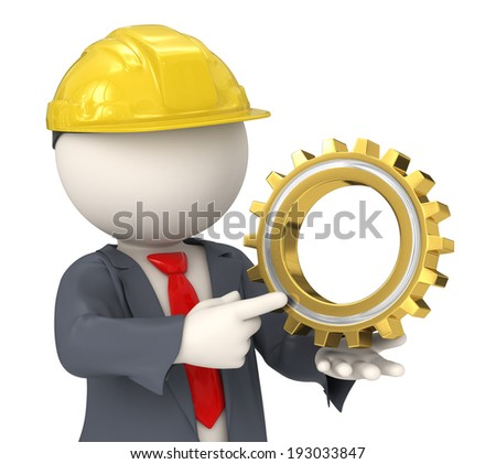 3d rendered constructor business man holding a golden gear - Solutions concept - stock photo