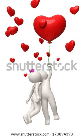 3d rendered couple flying with a red heart balloon on Valentines day and kissing - stock photo