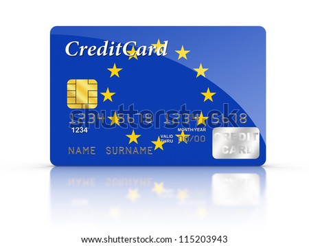 3D rendered Credit Card covered with European flag. - stock photo