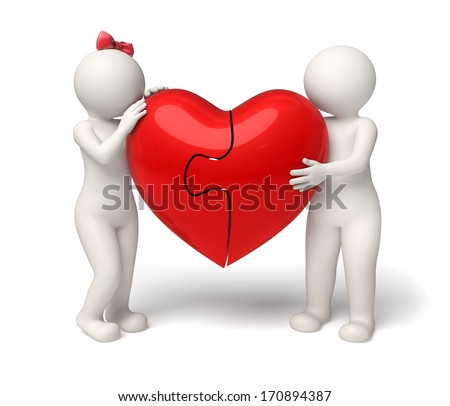 3d rendered cute couple holding a big red puzle heart - Valentines day and love concept - stock photo