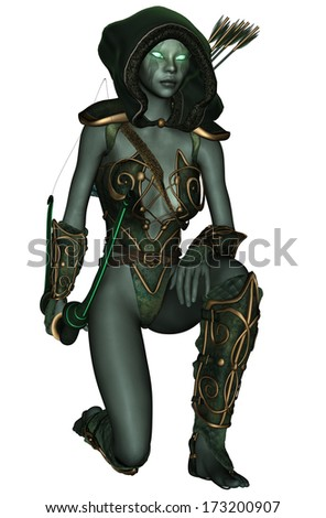 3D rendered dark elf warrior on white background isolated - stock photo