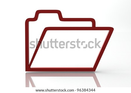 3D rendered desktop icon of a data file folder - stock photo