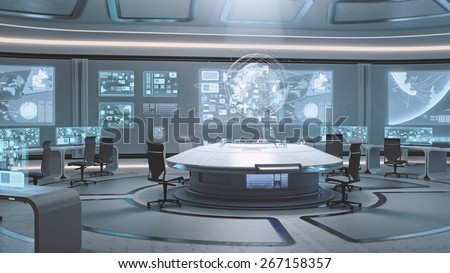 3D rendered empty, modern, futuristic command center interior - stock photo