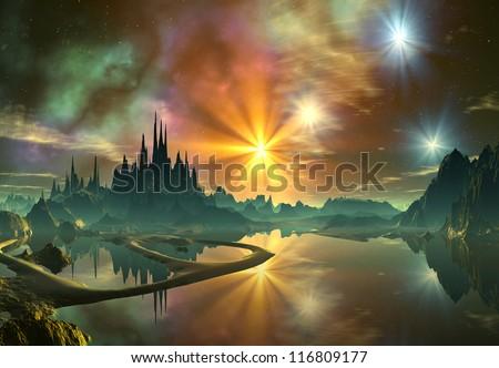 3D Rendered Fantasy Alien Planet - stock photo