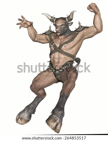 3D rendered fantasy minotaur creature on white background isolated - stock photo