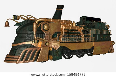 3D rendered fantasy steam train on white background isolated - stock photo