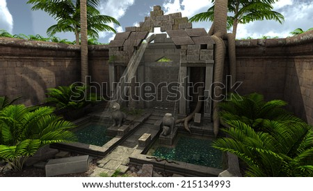 3D rendered fantasy temple with garden during day - stock photo