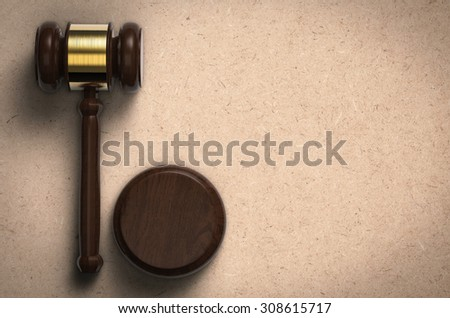 3d rendered gavel judge on brown background - stock photo