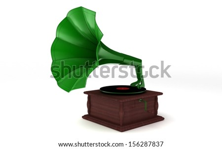 3d rendered gramophone isolated on white background - stock photo