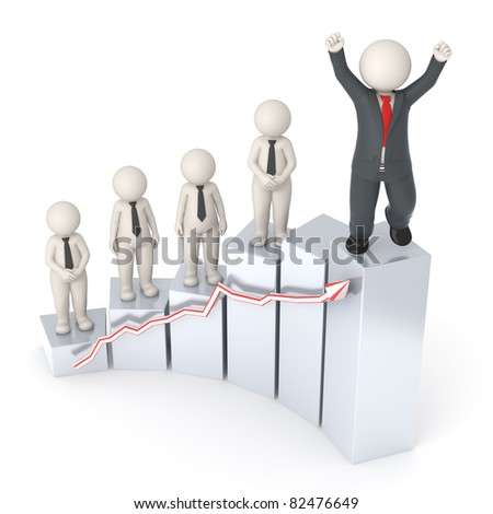 3d rendered happy business people on gray financial graph - Semi isolated with soft shadow - stock photo
