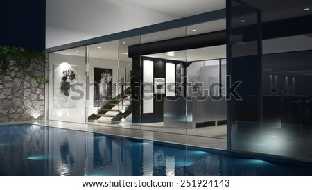 3D rendered house with a glassfront and a pool - stock photo