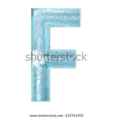 3d rendered ice alphabet letter F - stock photo