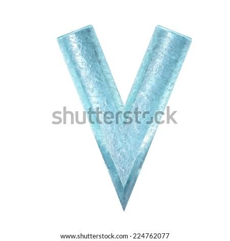 3d rendered ice alphabet letter V - stock photo