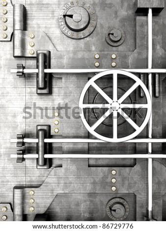 3D rendered Illustration. A bank vault door. - stock photo