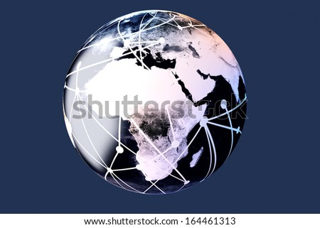 3D rendered Illustration. A cable connected World.  - stock photo
