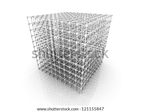 3D rendered Illustration. A 3 dimensional grid. Isolated on white. - stock photo