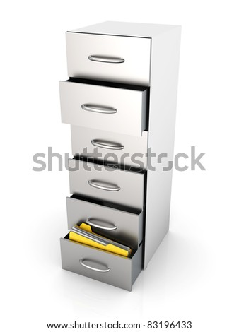 3D rendered Illustration. A filing cabinet containing documents. Isolated on white. - stock photo