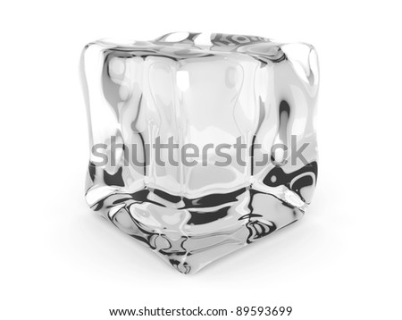 3D rendered Illustration. A Ice cube. Isolated on white. - stock photo