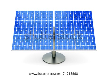 3D rendered Illustration. A single solar panel, isolated on white. - stock photo