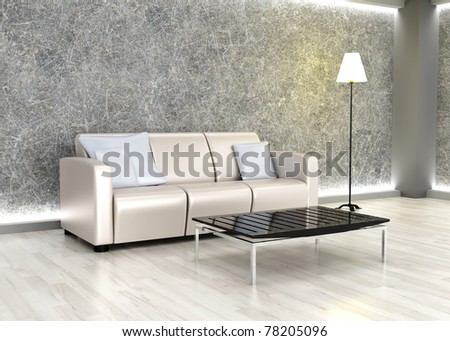 3D rendered Illustration. An living room. Dark concrete style. - stock photo