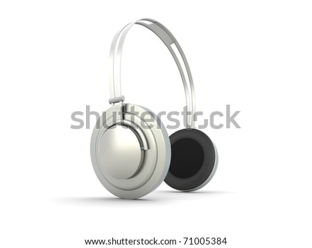 3D rendered Illustration. Chrome / Silver Headphones. Isolated on white. - stock photo