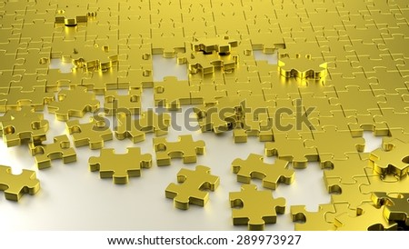 3D rendered illustration. Multiple puzzle pieces together on a white shiny board. Unfinished jigsaw with golden puzzle pieces. - stock photo