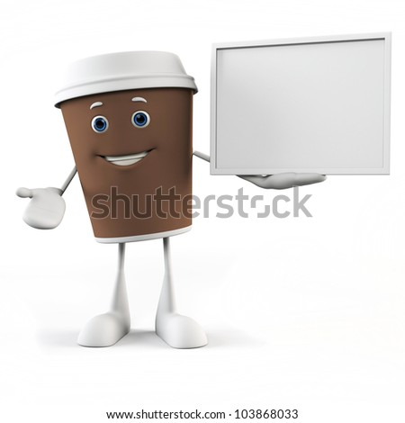 3d rendered illustration of a coffee cup character - stock photo