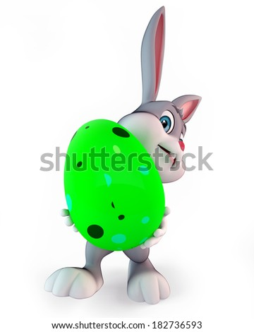 3d rendered illustration of a cute easter bunny with colorful eggs - stock photo