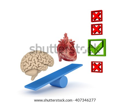 3d rendered illustration of a human heart and brain on a scales. - stock photo
