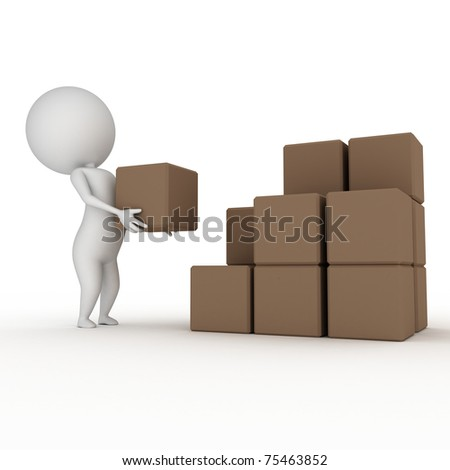 3d rendered illustration of a little guy with a package - stock photo