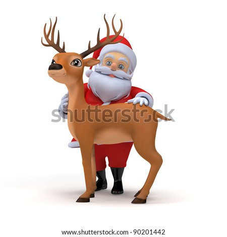 3d rendered illustration of a little santa and his reindeer - stock photo