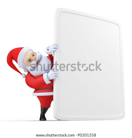 3d rendered illustration of a little santa with a blank sign - stock photo