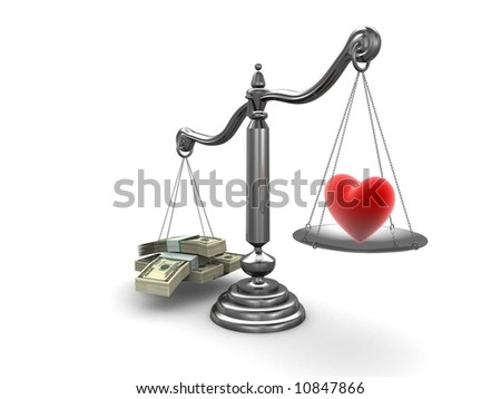 3d rendered illustration of a scale with dollar notes and a heart - stock photo