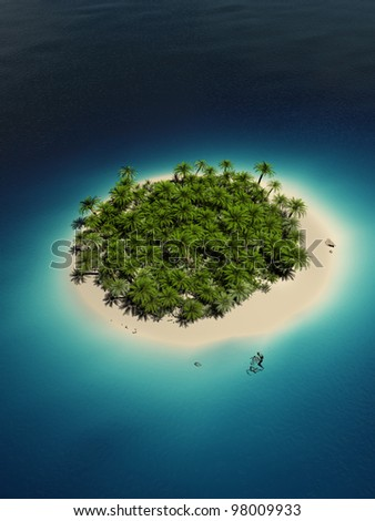 3d rendered illustration of a tropical island - stock photo