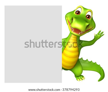 3d rendered illustration of Aligator cartoon character with white board - stock photo